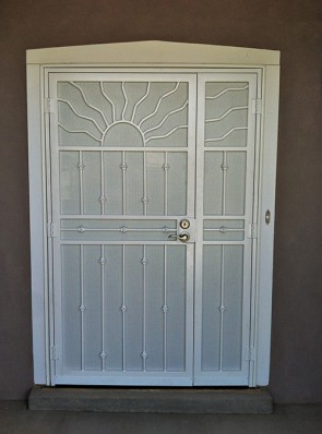 Security pre-hung offset center pr. of door with Wavy sun with Knuckles design and perforated metal