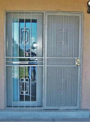 Security pre-hung door and sidelight with Contemporary design and perforated metal