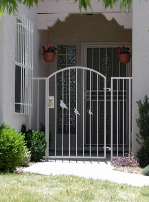 Arched gate with Quail Family