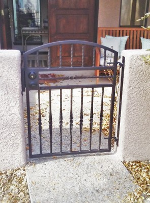 Arched gate with Forged pickets