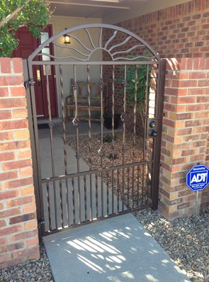 Gate with Arched top, Wavy Sun, Knuckles, Baskets, Twist, and doggie pickets