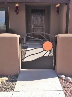 Arched gate in Windblown Copper Sun design