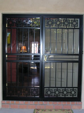 Pair of security storm doors in modern design