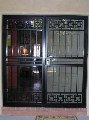 Pair of security storm doors in modern design