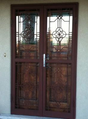 Pair of security storm doors in custom design
