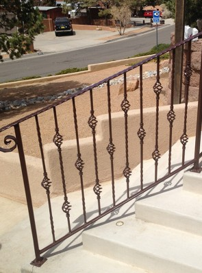 Step railing with Baskets,Twist, and forged top rail