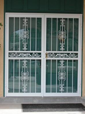 Pair of security storm doors in Regency design