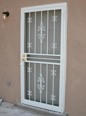 Security Pre-hung screen door with Sundance and double C scrolls design
