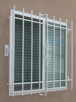 Window grill with Emergency Fire Release in Sundance design